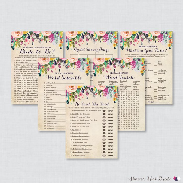 Floral Bridal Shower Games Package with Six Games- Printable Colorful Flower Garden Bridal Shower Games - He Said She Said, Bingo, etc 0002 by ShowerThatBrideShop on Etsy https://www.etsy.com/listing/260498839/floral-bridal-shower-games-package-with