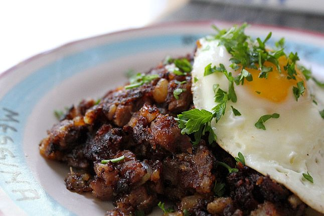 Prime Rib Breakfast Hash  Adapted from a recipe in Saveur - I read a whole bunch of recipes on the web and this seems to be the pick of the litter. Ingredients seasoning and method just right. I will make this.