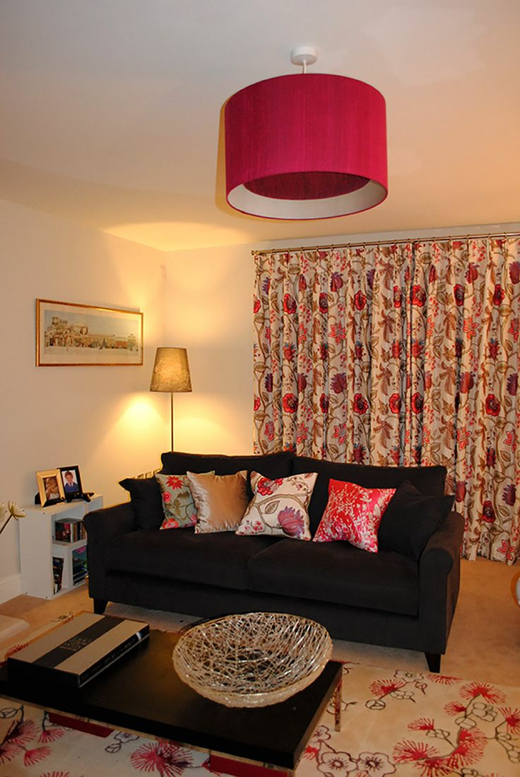 Client's finished Living Room Scheme - Manuel Canovas silk emboidered curtains/silk diffuser shade and dark rich sofas