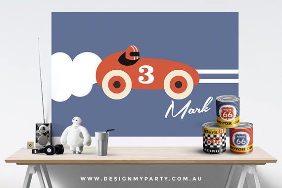 Vintage Race Car Theme Candy Buffet Backdrop Banner