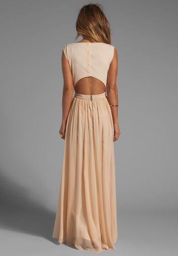 alice + olivia cutout back maxidress with leather trim.