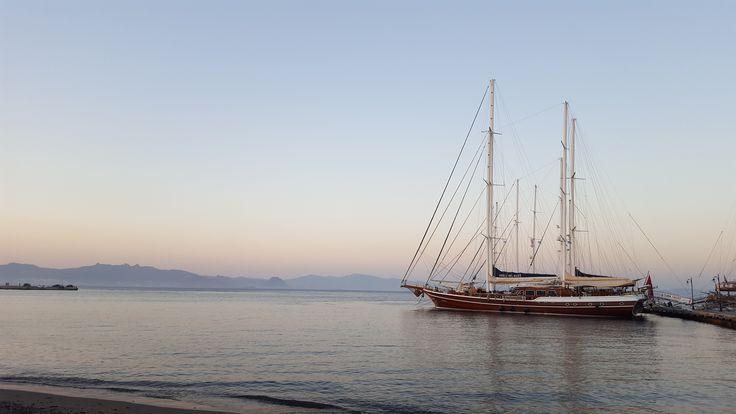 Beautiful photo of the harbor in  Kos island.  #Greece #sundown #harbor #kos #island #sailboat #sea #beautiful