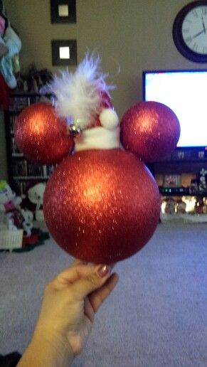 DIY Mickey Mouse tree topper with santa hat. So easy to make.