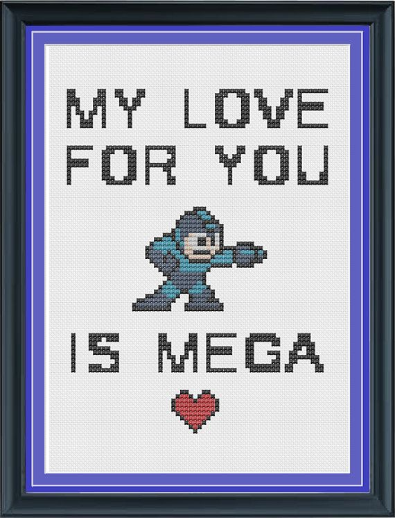 My Love For You is Mega - Mega Man Cross Stitch Pattern on Etsy, $5.00