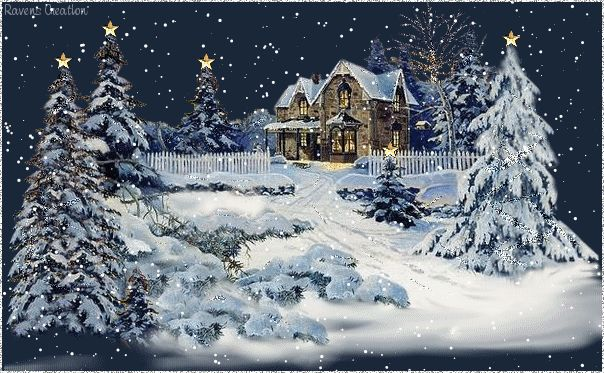 Christmas Snow Scenes | ... winter snow scene with cabin in snow and fresh snow gently falling