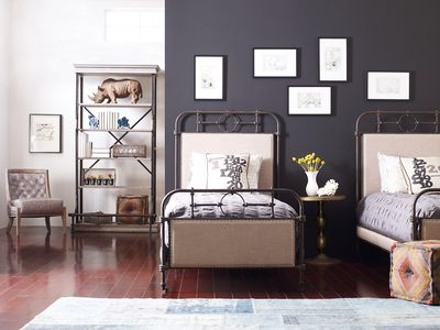From Left to Right: Monroe chair, Braxton bookcase, Berkley metal twin bed, Marlow Victorian pedestal table, cube ottoman