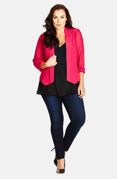 City Chic Chiffon Sleeve Blazer (Plus Size)