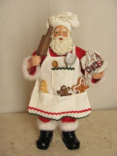 "Chef Santa Claus 11"" Clothtique Possible Dreams Figurine Apron Utensils Cookies Currently $29.99"