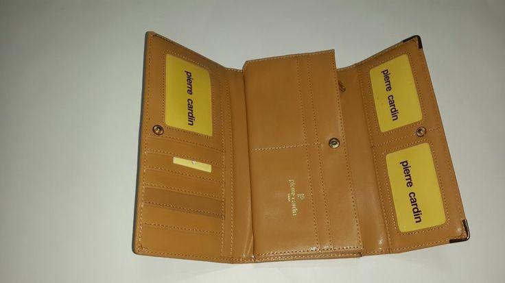 Pierre Cardin Gold Beige leather Wallet Organiser Pouch Purse Card