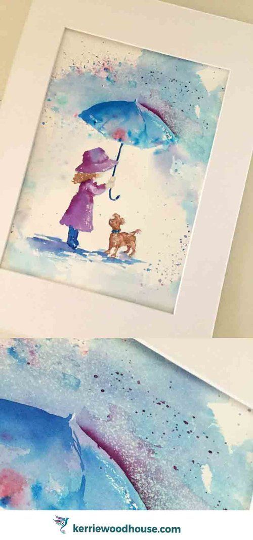Rainy Days 3 Sheltering a friend original watercolour painting | wall art | loose watercolor | kid's decor | children's room | umbrella | cute dog | blue | purple