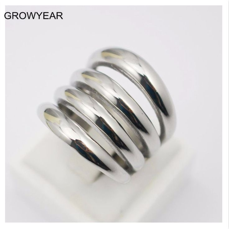 Silver Women Long Finger Rings Fashion Jewelry Stainless Steel Muliti Layer Ring Size 5 6 7 7.5 8 9 10 11 11.5