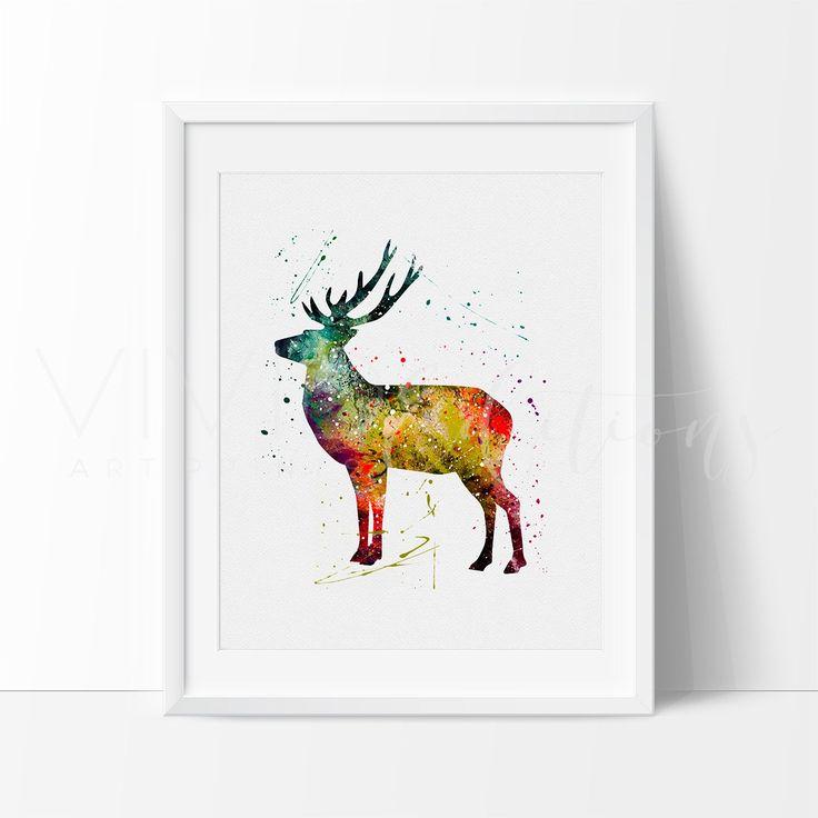 Deer Stag Animal Watercolor Nursery Art Print Wall Decor