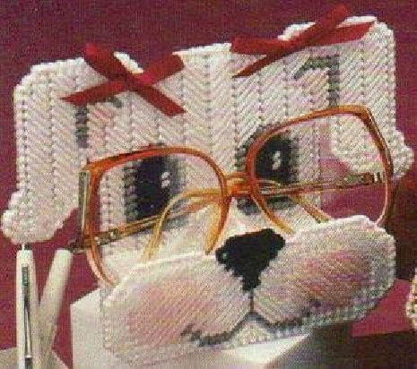 Stereoscopic Cross Stitch Lovely Dog Eye Glass Shelf