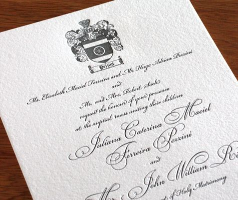familycrest letterpress wedding invitation by invitations by ajalon