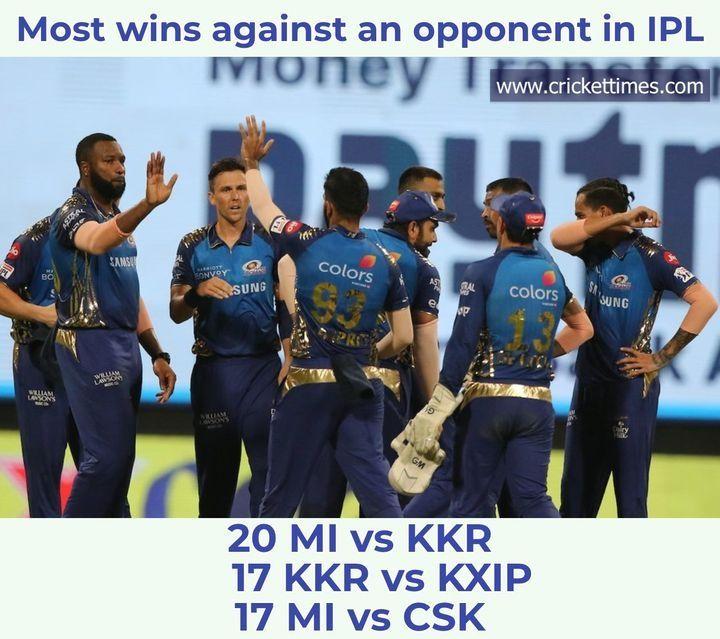 Mi Have Most Wins Over Kkr In The Ipl Ipl2020 Kkrvmi Cricket In 2020 Ipl Mumbai Indians Latest Cricket News