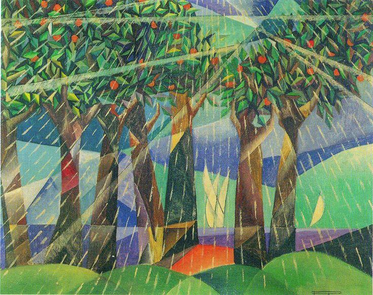 Aranceto sotto la pioggia, 1926 by Pippo Rizzo (Italian 1897-1964) tempera su cartone