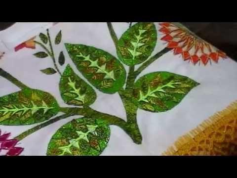 166.- Bordado fantasía hojas de Catarina y abeja - YouTube