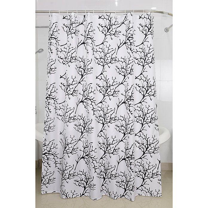 Venus Textil Duschvorhang Makani Farbe Weiss Schwarz Weiss Und