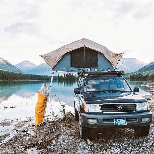"""Something special about catching the last light on the shores of a northern lake. We watched the day end and the northern lights begin before climbing to bed."" _________________________________ #frontrunner #frontrunneroutfitters #roomwithaview #rooftoptent #featherlight #tent #rtt #slimline2 #landcruiser #roofrack #100series  _________________________________ Photo Credit: @isaacsjohnston"