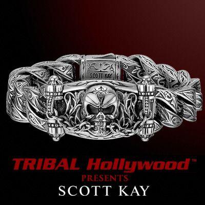 The UnKaged JAWS OF LIFE SKULL Bracelet - Scott Kay Mens Sterling Silver Wristwear