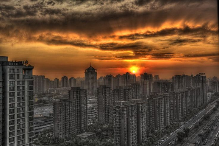 Beijing, view from a tower on the 4th ring road - by Phil Chavanne