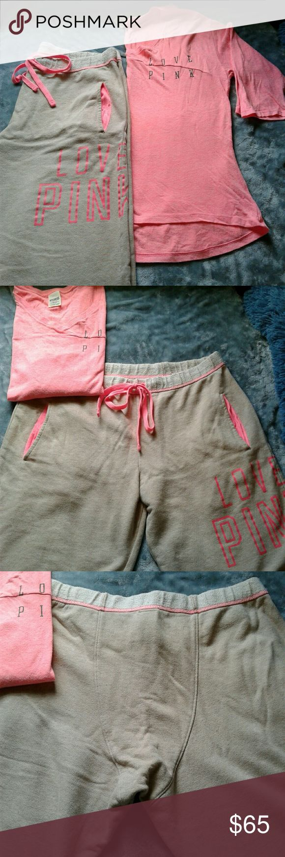 PINK VS tee shirt sweatpants set M Pre loved, good condition PINK Victoria's Secret pink and gray tee shirt and boyfriend style sweatpant set. Pink 3/4 sleeve, v neck, high low tee shirt with LOVE PINK logo on left breast size M. Gray drawstring waist boyfriend style sweatpants with pink LOVE PINK logo on sides of left leg. 2 hip pockets lined with pink. Cut off cuff. Size M. Thanks for looking!! PINK Pants Track Pants & Joggers