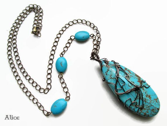 Unique handmade wire wrapped necklace with di turquoise pendant and beads ilSognodiAlice