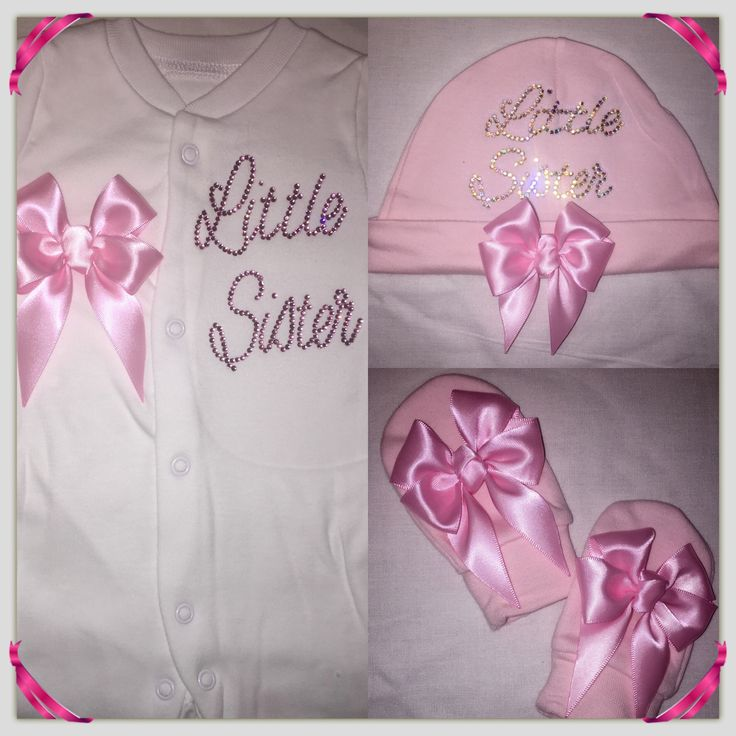 Little Sister baby grow, hat and bow scratch mitts  xxx