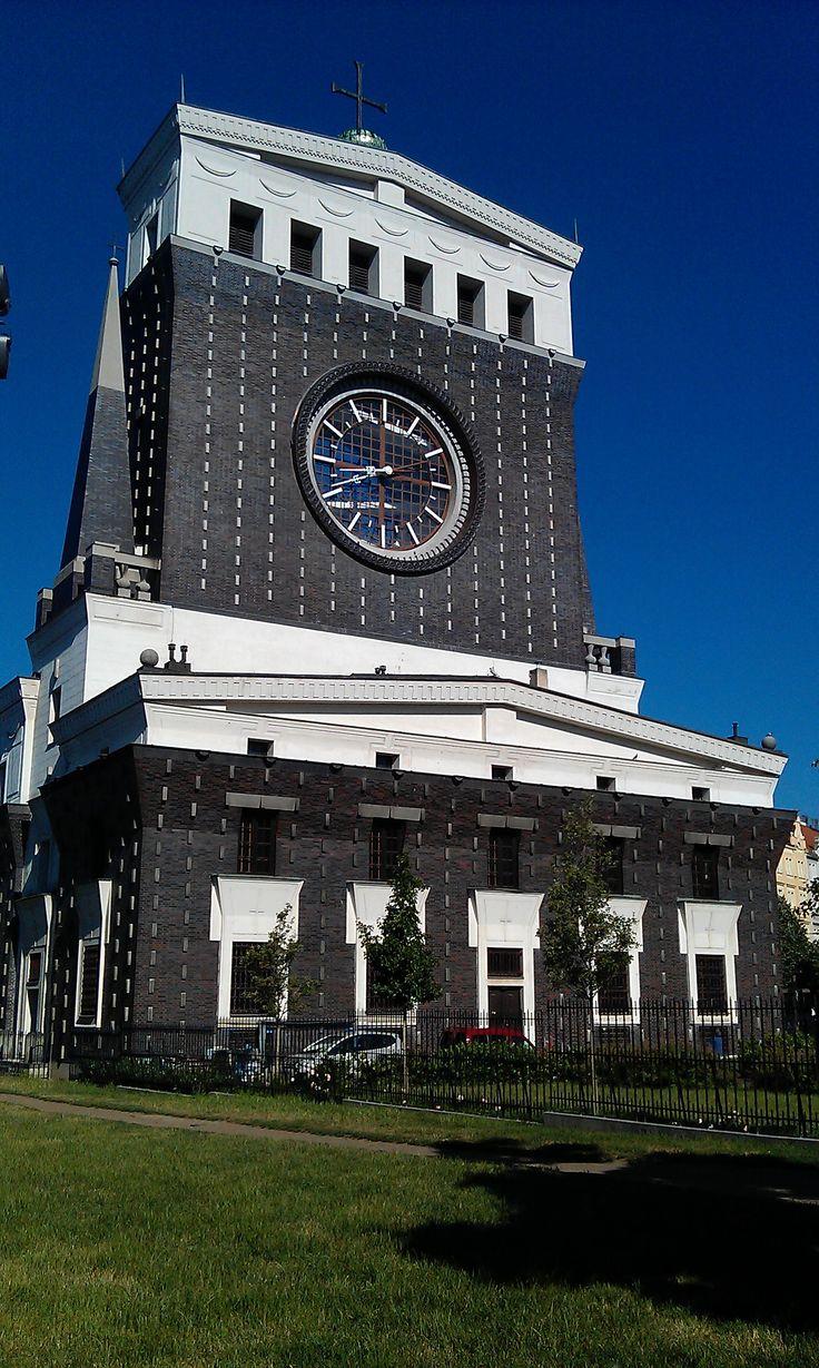 Kostel nejsvětějšího srdce Páně - Church of the lightest heart of the God. Church was built in 1932 by the slovenian architect Jože Plečnik on the square Jiřího z Poděbrad.