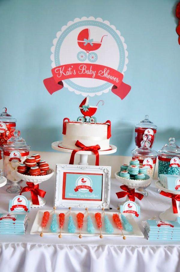 Gender neutral aqua & red baby carriage shower via Kara's Party Ideas: