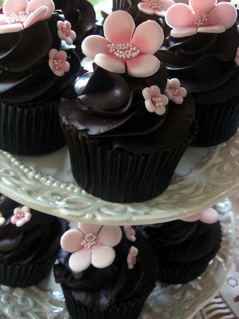 Chocolate Cherry Blossom Cupcakes