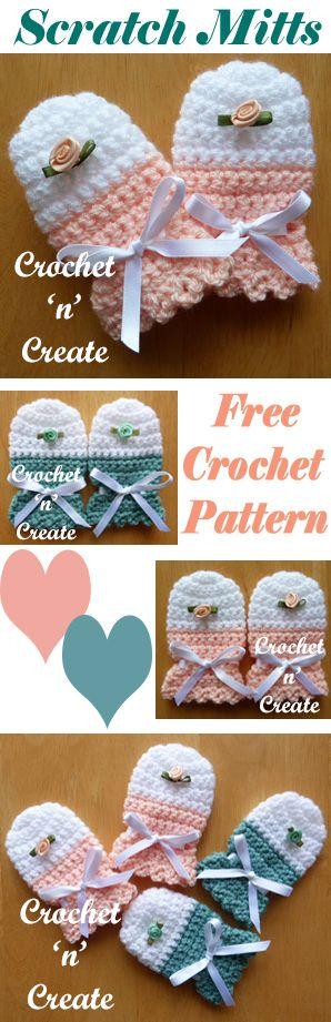 Cute baby scratch mitts, free baby crochet pattern. #crochet