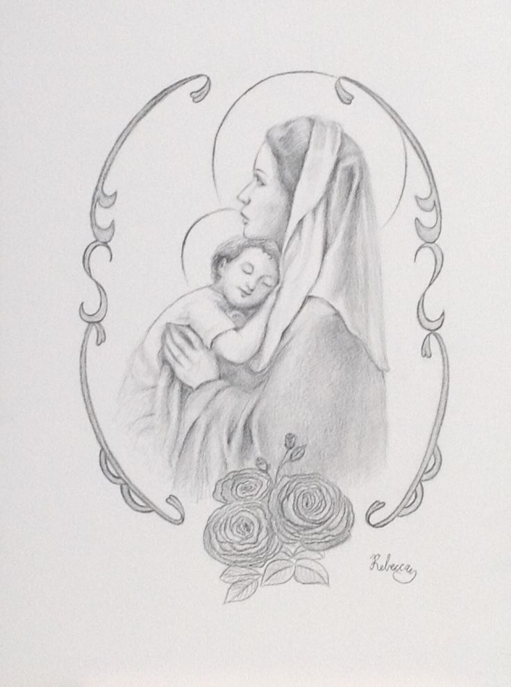 Mary and Jesus pencil drawing 9 x 12 inches on Bristol board  www.rmartmusichouse.etsy.com
