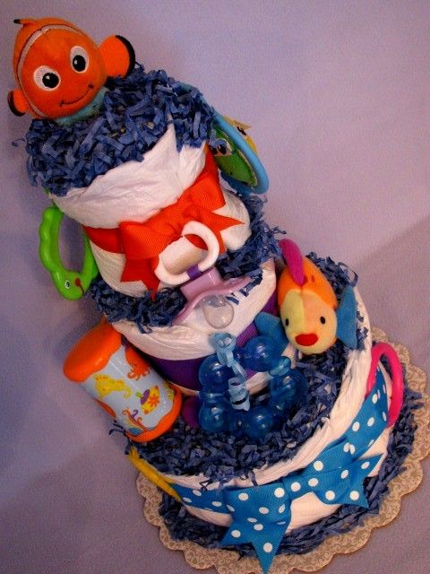 Finding Nemo Baby Diaper Cake, Under the Sea Baby Diaper Cake, Shower Centerpiece. $39.99, via Etsy.