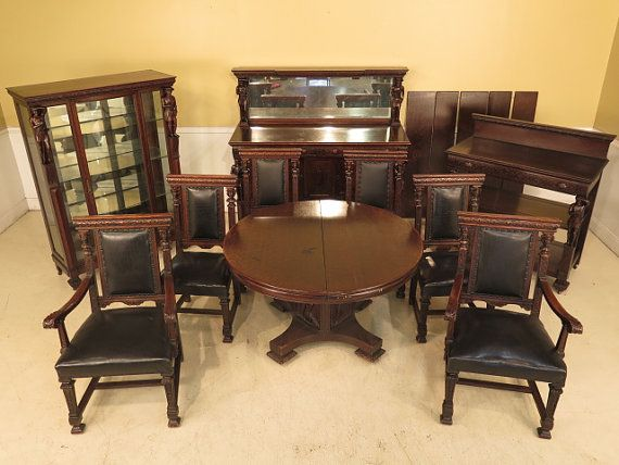 F23840: Antique 10 Piece American Oak Dining Room Set w.
