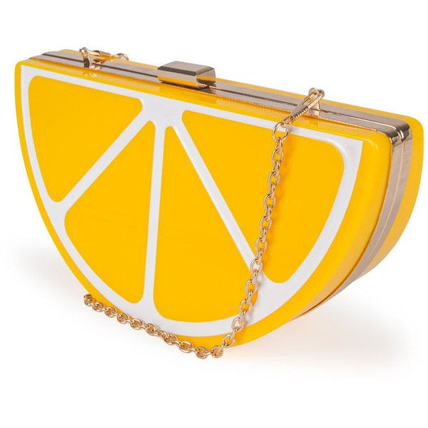 Nila Anthony Lemon Clutch (2,950 THB) ❤ liked on Polyvore featuring bags, handbags, clutches, accessories, yellow, nila anthony, yellow purse, nila anthony handbags, yellow handbag and orange purse