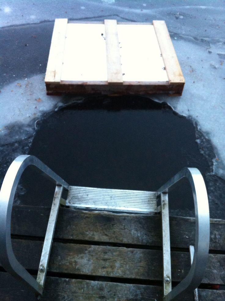 Sauna  ice swimming, best protection against the winter flue. Vaakkoi, DEC 2013