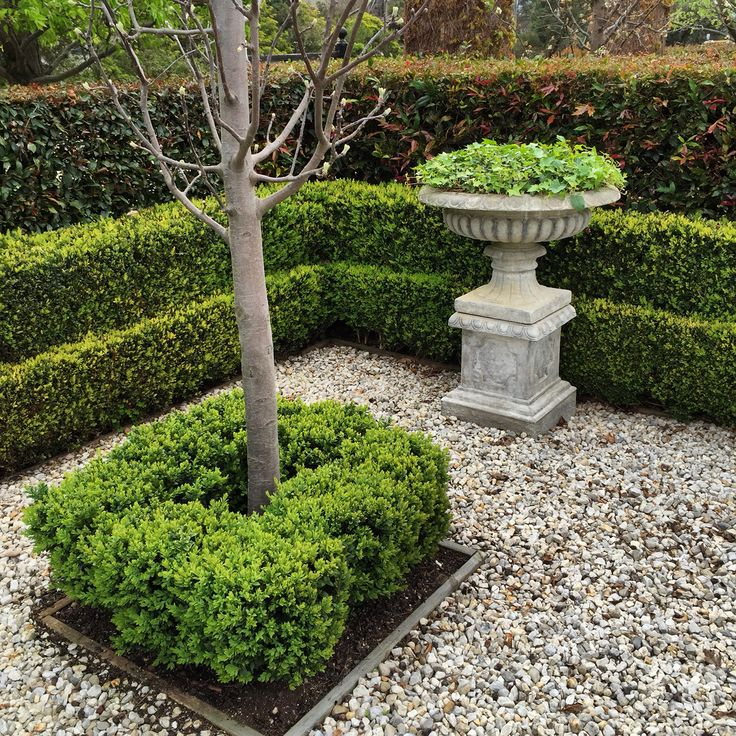 Urns and upright growing crabapple