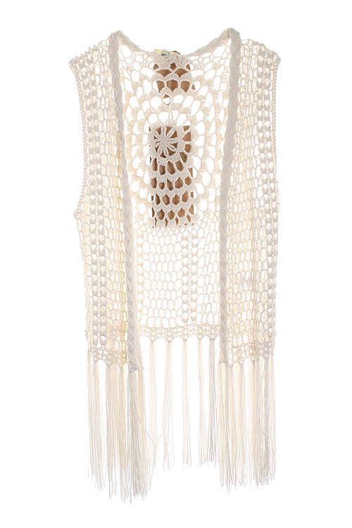 Ivory Fringe Crochet Knit Sleeveless Vest