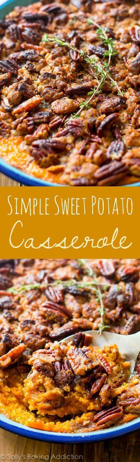 Vanilla buttery sweet potato mash underneath a crunchy, cinnamon, and brown sugar pecan crumble! What an easy make-ahead Thanksgiving side dish!