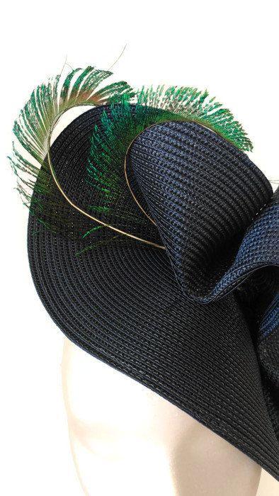 tocado azul marino con plumas de pavo realtocados para tocado de bodatocado con boda