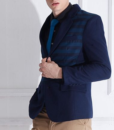 Blue Geometric Stripes #Wool #Blazer #mens #stylish #58soufun More discount price  http://www.58soufun.com/mens-style/fashionsection/menstrends/blazers-c-998349843.html
