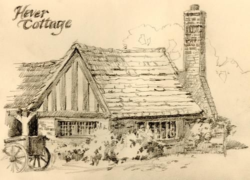 Cottage at Hever Castle , Pencil drawing of Hever Hotel in ...