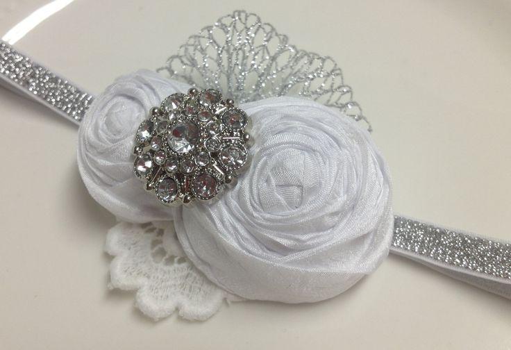 Christening Headband / Baptism Headband / Flower girl / White Rolled Flowers  / Photography / Prop.. $11.99, via Etsy.