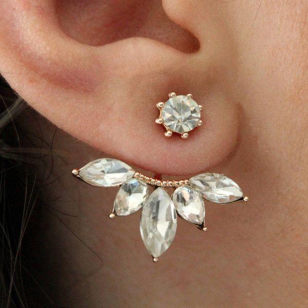 Rabal Rhinestone Studded Flower Ear Jacket (€26) ❤ liked on Polyvore featuring jewelry, earrings, flower jewellery, flower earrings, rhinestone earrings, rhinestone stud earrings and blossom jewelry