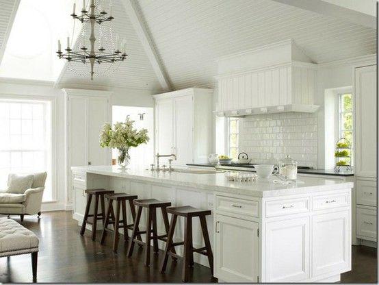 white on white kitchen with a few dark wood accents: Ideas, Kitchens Design, Dreams Kitchens, Islands, Subway Tiles, White Cabinets, Kitchen Designs, Stools, White Kitchens