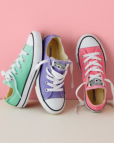 Converse Chucks, Sizes 02-3 love these colors for spring/summer, do pink laces with purple and purple with the pink. #iheartDSP #Converse #Trendy