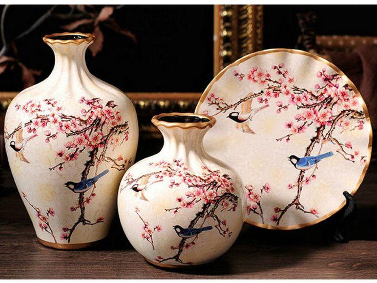 Spring Collection - 3 Piece Ceramic Vase Set - Cherry Blossom Meadow – Samiksha's