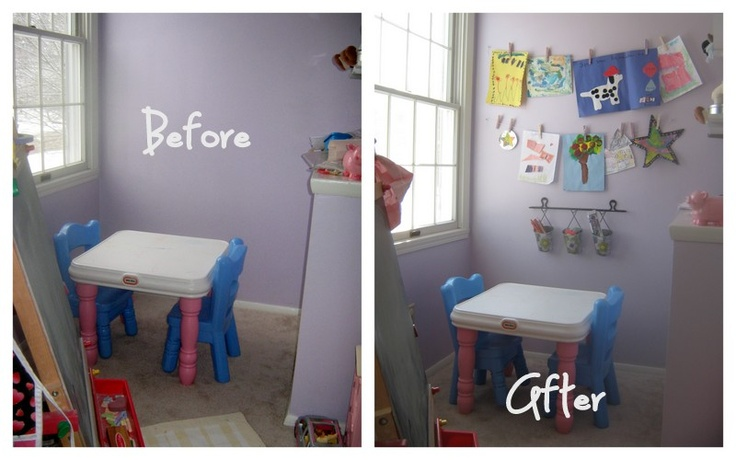 Home Made Modern: Clothesline Art Display- for playroom