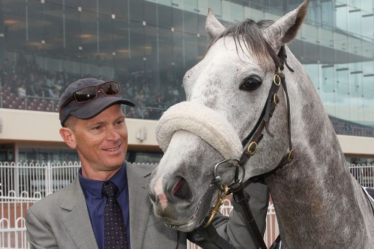Trainer Jake Stephens with Gris Caro following the Jack London Naturalism Stakes